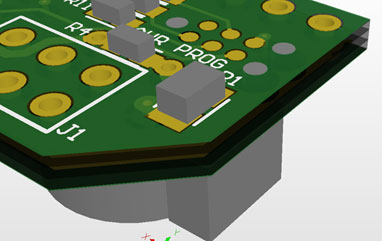 6-pin legless Tag-Connect footprint in Altium 3D with component on opposite side