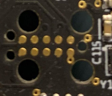Actual footprint of TC2050 on a Printed Circuit Board
