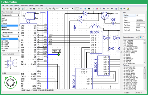 Printed circuit board layout created using DipTrace schematic and PCB design software